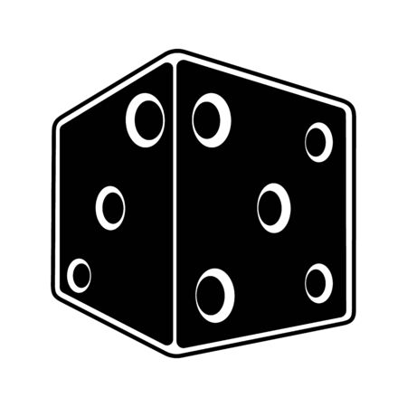 Casino Dice 3d in perspective Icon. Can be use for web Ilustracja
