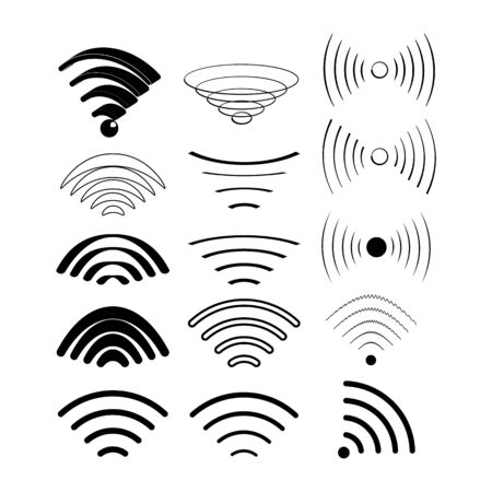 Wireless technology, black web icons set. Can be use for web Ilustracja