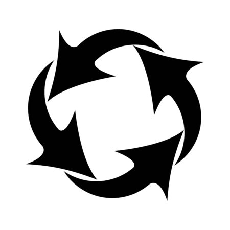 Vector icon four arrows rotating in a circle .