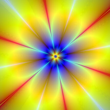 Computer generated abstract image with a floral design in blue and yellow. photo
