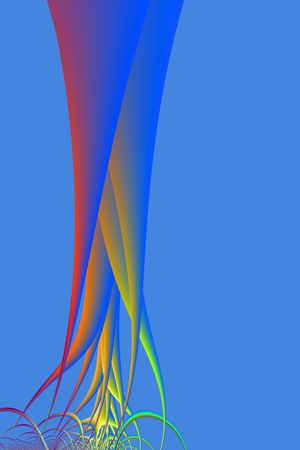 rooted: Computer generated image with a bare rooted tree design on a blue background. Stock Photo