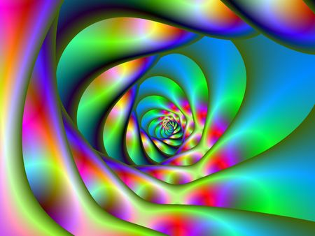 Computer generated fractal image with a psychedelic spiral design in blue pink green and yellow.