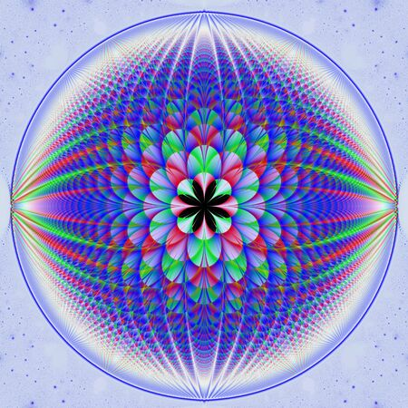 Computer generated fractal image with a spherical design in blue and white with red highlights.  Stock Photo - 6301507