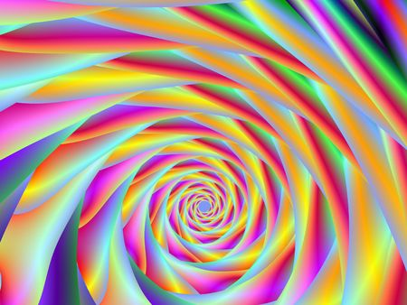 Computer generated fractal image with a spiral design in pink, green, red and yellow.