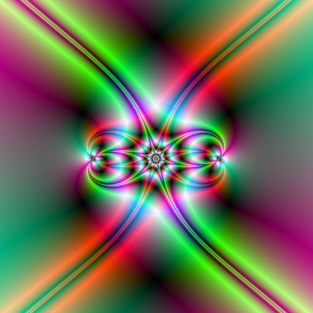neon green: Computer generated fractal image with an abstract star design in red and green neon colors.