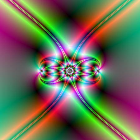 Fractale-afbeelding met een abstracte ster ontwerp computer gegenereerd in rode en groene neon kleuren.