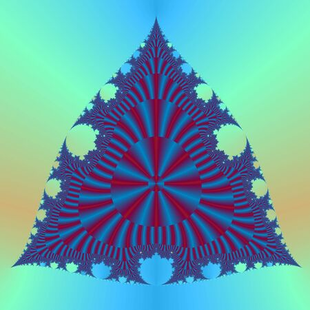 Computer generated fractal image with an abstract trianular design in red and blue. photo