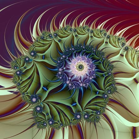 Computer generated fractal image with an abstract spiral design in green blue and purple.  photo
