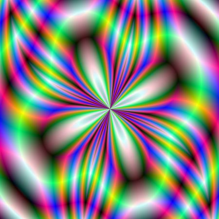 neon wallpaper: Computer generated fractal image with an abstract neon flower design in red blue and green.