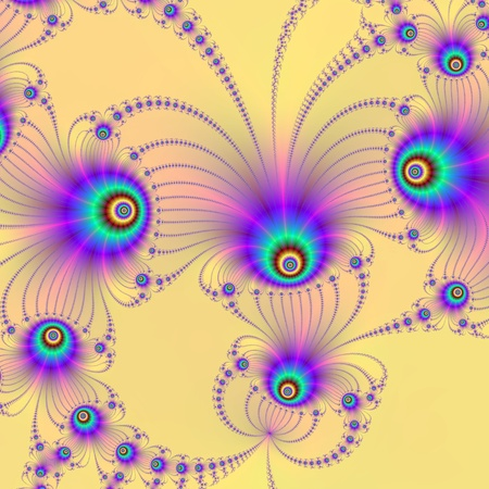 Computer generated fractal image with a peacock feather design on biege background. photo