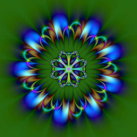 disign: Computer generated fractal image with a circular disign of blue on a green background. Stock Photo
