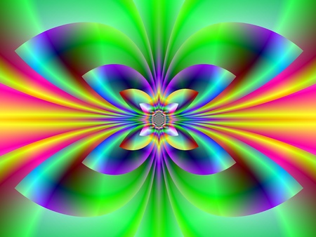 Computer generated fractal image with an abstract neon design in red blue,green yellow and pink. photo