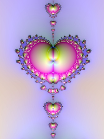 fractal pink: Digital image with a heart shaped design in pink and yellow on a lilac background.