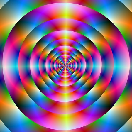 psychedelic: Computer generated fractal image with an psychedelic circular abstract pattern in blue pink and yellow. Stock Photo