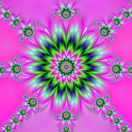 fractal pink: Computer generated fractal image with a floral design on a pink background.