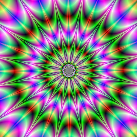Computer generated fractal image with an abstract design of a starburst in pink and green, red and yellow. Zdjęcie Seryjne
