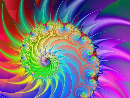Computer generated image with a spiral design in purple blue yellow green and red.
