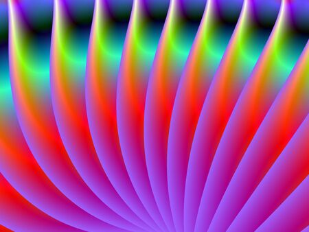 Digital abstract image with a fan design in neon lilac, red,green and purple. photo