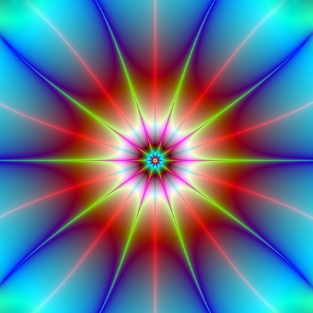 Computer generated fractal image with an abstract exploding star design in blue red and yellow. photo