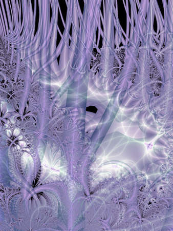 undergrowth: Digital abstract fractal image with a organic design in lilac and white Stock Photo