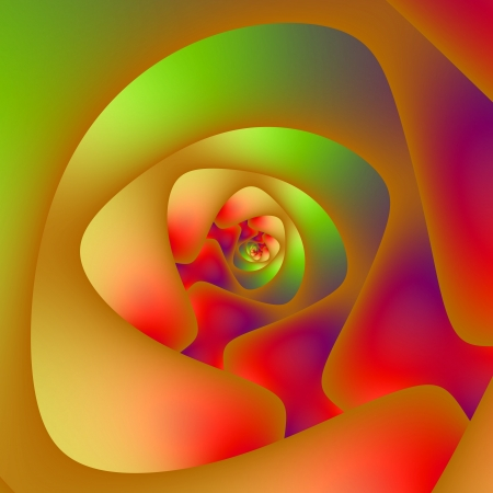 Digital abstract fractal image with a spiral design in green, red and orange  photo