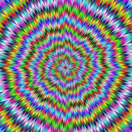 Digital abstract image with an explosion of blue red yellow green and purple producing an optical illusion of movement. Zdjęcie Seryjne