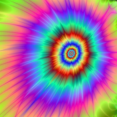 stropdas: Tie dye Kleur Explosion  Digital abstract beeld met een Tie-dye Kleur Explosion ontwerp in roze, blauw, paars, groen, en rood