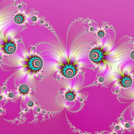Rosa Fractal Fireworks / Computer generiert abstraktes Bild mit einer fraktalen Feuerwerk Design auf einem rosa Hintergrund
