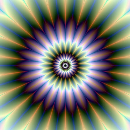 Floral RosetteDigital abstract image with a floral rosette design in green, blue, purple, white and yellow. photo