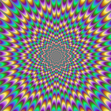 producing: Eye BenderDigital abstract image with a psychedelic design producing the illusion of movement in yellow, green, blue and pink.