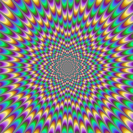 Eye Bender / Numérique image abstraite avec une conception psychédélique produire l'illusion du mouvement en jaune, vert, bleu et rose. Banque d'images