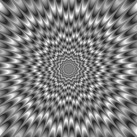 producing: Monochrome Eye BenderDigital abstract image with a psychedelic design producing the illusion of movement in monochrome black and white.