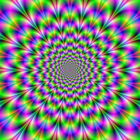 Neon Pink and Green Flower / imagen abstracta digital con un diseño psicodélico de neón rosa, verde y azul.