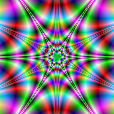 fractal pink: Neon StarAbstract fractal image with a psychedelic star design in red, green, pink and blue.