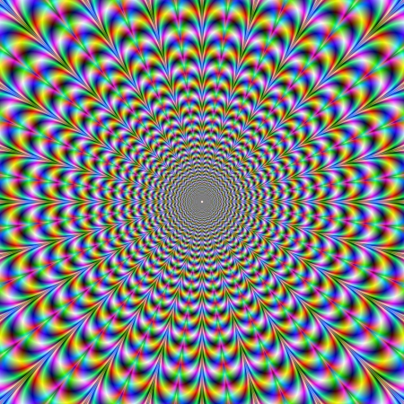 optical illusion: Psychedelic WebDigital abstract image with a psychedelic circular web pattern of blue red yellow green and pink producing an optical illusion of movement.