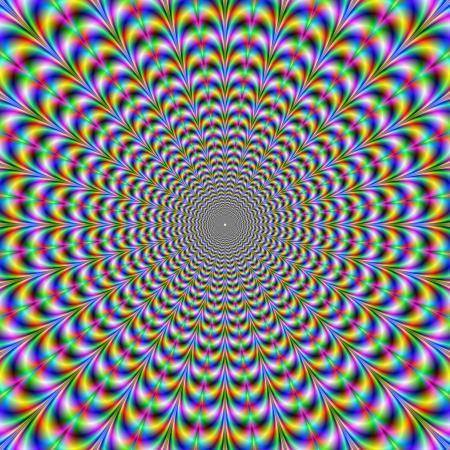 arte optico: Web Psychedelic  imagen abstracta digital con un dise�o psicod�lico web circular de color azul verde rojo amarillo y rosa producir una ilusi�n �ptica de movimiento. Foto de archivo