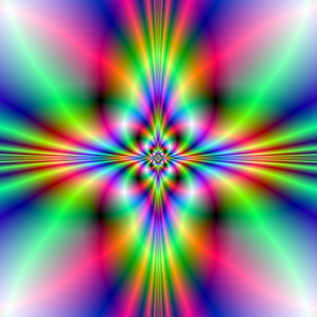 fractal pink: Neon Cross Digital abstract image with a neon cross design in blue, green and pink  Stock Photo