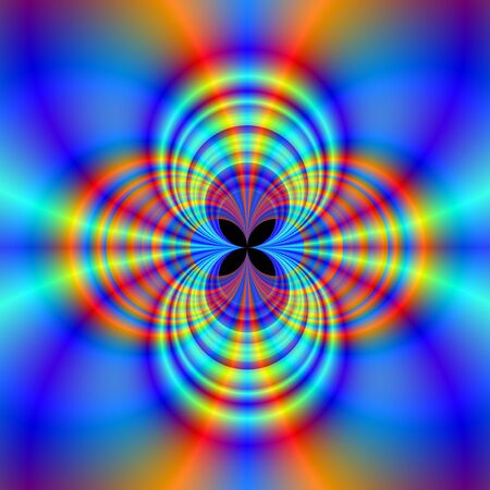 qua: Psychedelic Quatrefoil Digital abstract image with a four circle Quatrefoil design in blue, red and orange