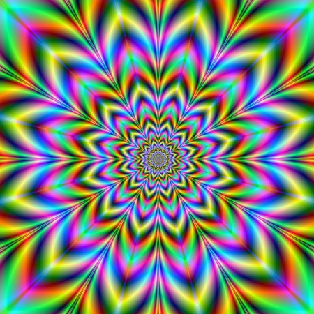 Psychedelic Flower Digital abstract image with a psychedelic flower design in yellow, blue, green, red and pink
