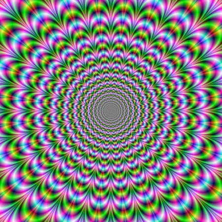 arching: Arqueo Anillos  imagen abstracta digital con un dise�o psicod�lico en rojo, verde, azul y rosa.