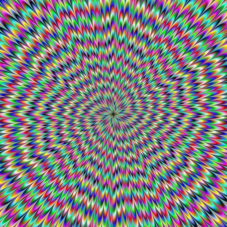Eye Boggling  Digital abstract image with an explosion of blue red yellow green and purple producing an optical illusion of movement. photo