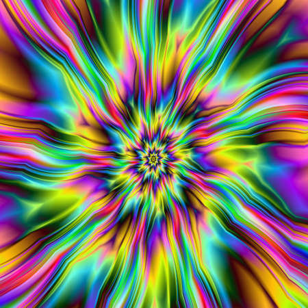Psychedelic Supernova / Digital abstract fractal image with an explosion of color design in blue, green, pink and yellow. Stock Photo - 18532512