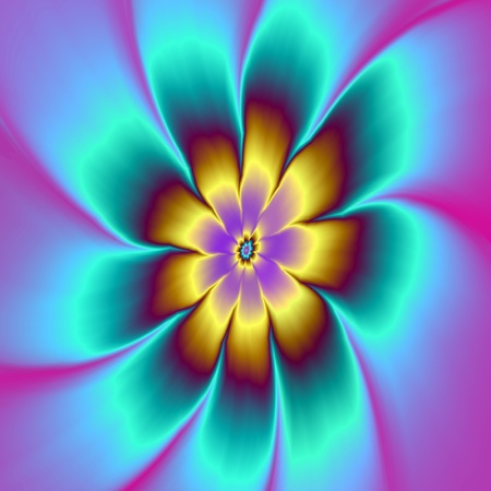 golden daisy: Golden Daisy  Digital abstract fractal image with a daisy flower design in gold, blue and pink.