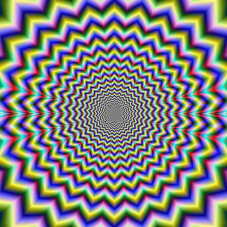 mesmerising: Digital abstract fractal image with a psychedelic multi pointed star shaped design in blue, red, lilac, yellow, and green rings, producing an optical illusion of movement. Stock Photo