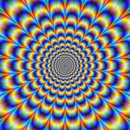 青と黄色の動きの錯覚を与えることで光学的に挑戦的なサイケデリックなパルス デザイン デジタル抽象的なフラクタル画像。