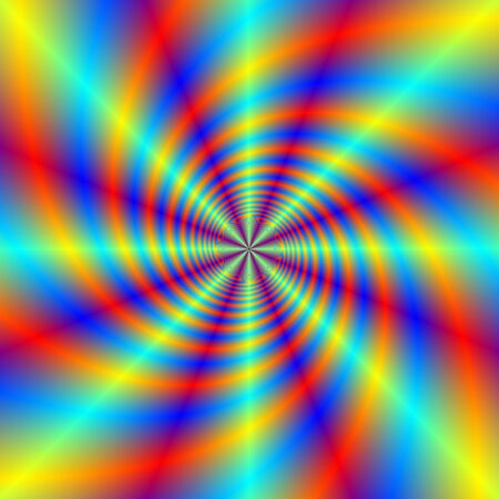 Digital abstract fractal image with a psychedelic swirl design in blue, red, yellow and orange. photo