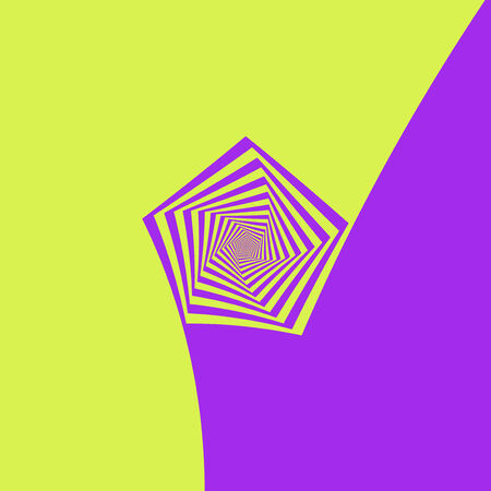 pentagon: Digital abstract fractal image with a spiral pentagon design in yellow and lilac. Stock Photo