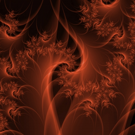 Digital abstract fractal image with a spiral design in burnt orange  Stock Photo