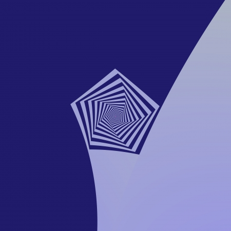 pentagon:  Digital abstract fractal image with a spiral pentagon design in shades of blue.