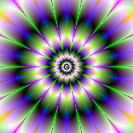 Fractal Daisy   Digital abstract fractal image with a flower pattern design in green, blue and purple